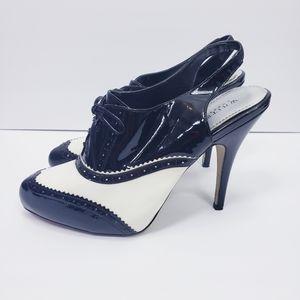 WHBM Oxfords Heels White/Black
